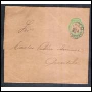 CT-12 - Brasil-1893, Cinta de 20 Réis, Cabeça da Liberdade, tipo V, fecho obtuso, circulado.