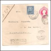 EN-61- Envelope de 100 Réis Cabeça da Liberdade,algarismos finos,circulada 1916 Petrópolis-Barbacena