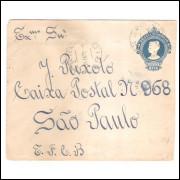 EN-63 - Envelope de 200 Réis, Cabeça da Liberdade, circulado 1922, Estrada de Ferro Central Brasil.