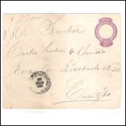 EN-46 - Envelope de 200 Réis, Cabeça da Liberdade, oval fechada, circulado em 1904.