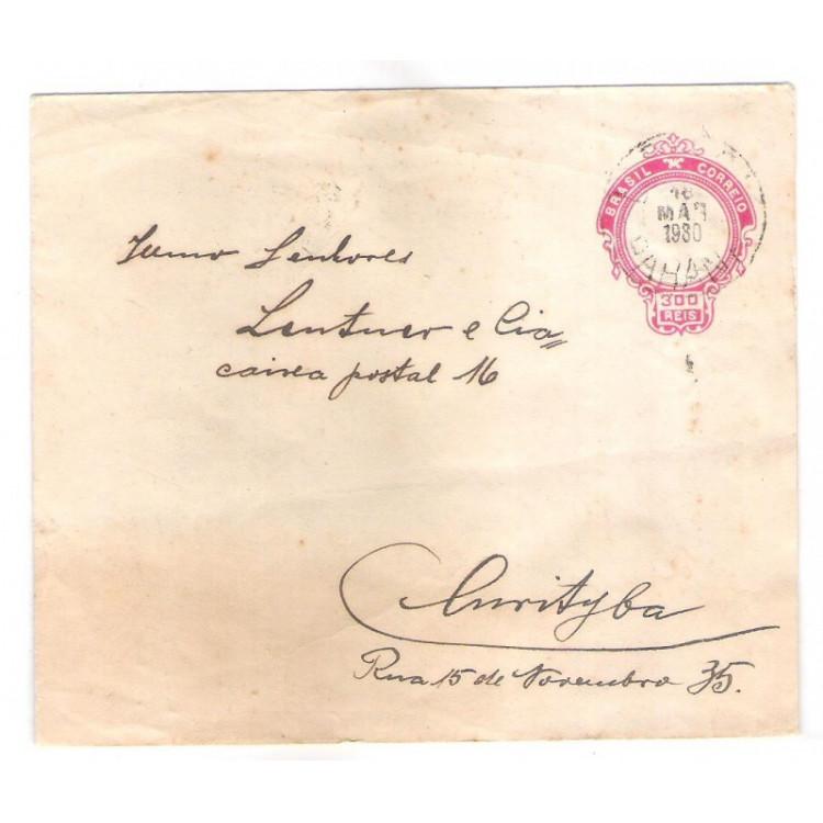 EN-76 - Envelope de 300 Réis, Cabeça da Liberdade, circulado em 1930.