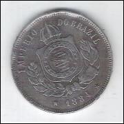 1884 - Brasil-Império, Dom Pedro II, 200 Réis, cuproníquel, bc/mbc.
