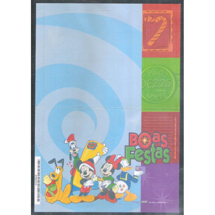 Ref. 02 - Carta Bilhete, Aerograma Social de Natal, 1998, Mickey, nova.