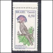 C0602A - 1968 - Pássaro Brasileiro, Papa-Mosca Real. 50 centavos, com filigrana.