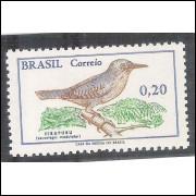 C0601A - 1968 - Pássaro Brasileiro, Uirapuru. 20 centavos, com filigrana.
