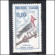 C0642A - 1969 - Pássaro Brasileiro, Cardeal. 10 centavos, com filigrana.