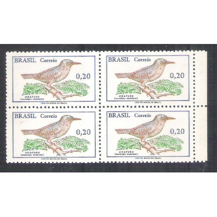 C0601A - 1968 - Pássaro Brasileiro, Uirapuru. 20 centavos, QUADRA, com filigrana.