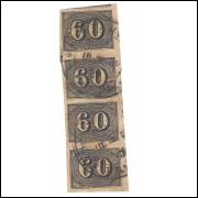 I-14 Brasil Império, 1850, 60 Réis, Olho de Cabra, TIRA DE 4 com BOAS MARGENS.