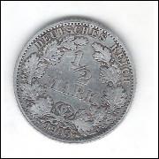 Alemanha (Império), 1/2 Mark 1905 F, prata.900.