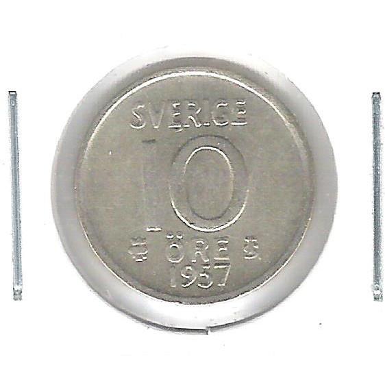 Suécia, 10 Ore 1957 , prata .400, mbc.