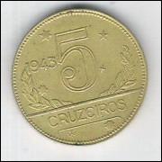 1943 - 5 Cruzeiros, bronze-alumínio, soberba