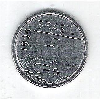 1994 -  5 Cruzeiros Reais, aço, fc. Fauna, arara.