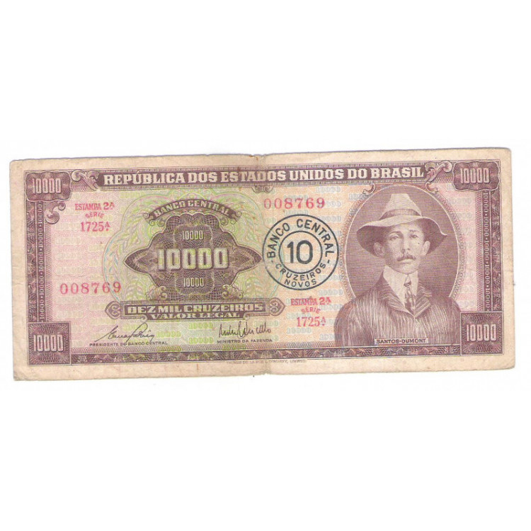 C128 - 10 Cruzeiros Novos, 1967, Cédula Provisória 10.000 Cruzeiros com carimbo, mbc. Santos Dumont.