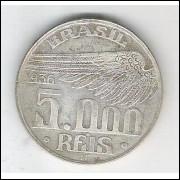 1936 - 5000 Réis, prata, mbc. Santos Dumont