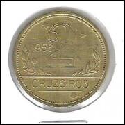 1956 - 2 Cruzeiros, bronze-alumínio, mbc/s.