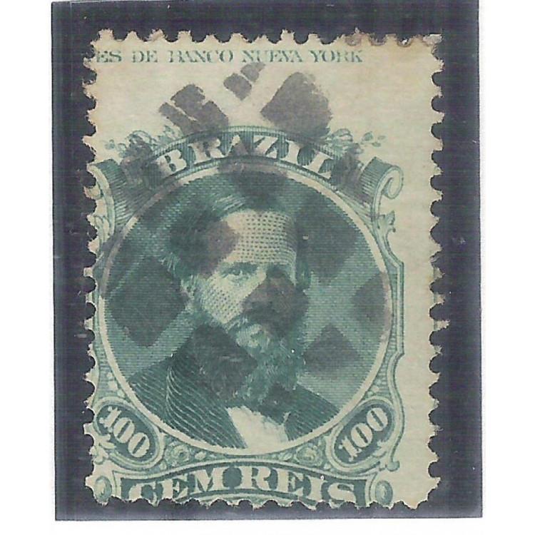 I-27AL Brasil Império, 1866, 100 Réis, Dom Pedro II, picotado, tipo 2, COM LEGENDA.