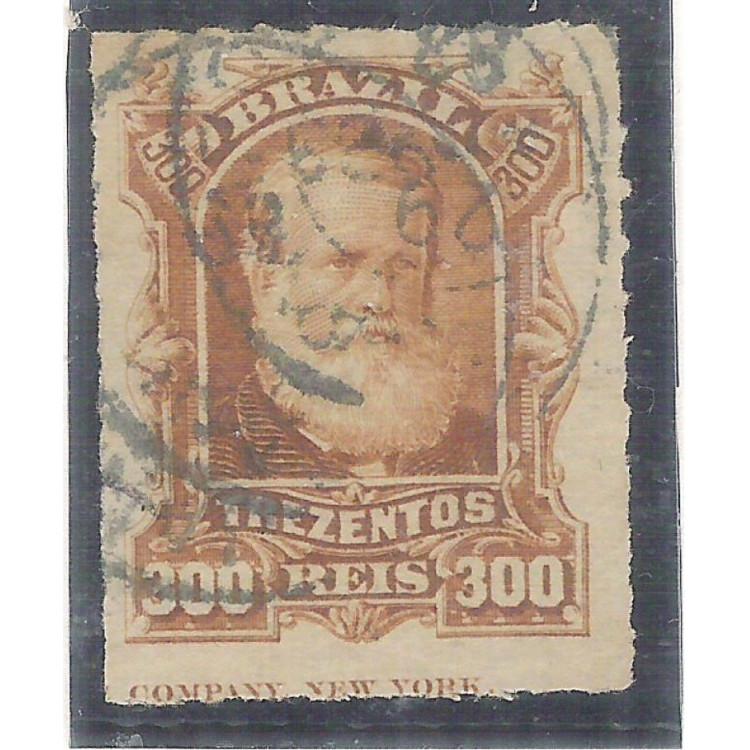 I-44L Brasil Império, 1878, 300 Réis, Dom Pedro II, Barba Branca, COM LEGENDA.