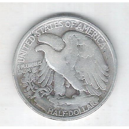 Estados Unidos, Half Dollar, 1/2 dólar, 1945, prata, Walking Liberty, mbc.