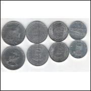 Paraguai, 2016, série de 4 moedas FC, 50; 10; 500 e 1.000 Guaranies. Personagens.
