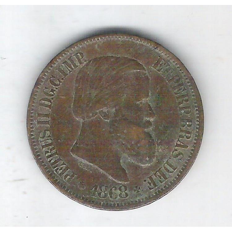 1868 - Brasil-Império, Dom Pedro II, 20 Réis, bronze, mbc++