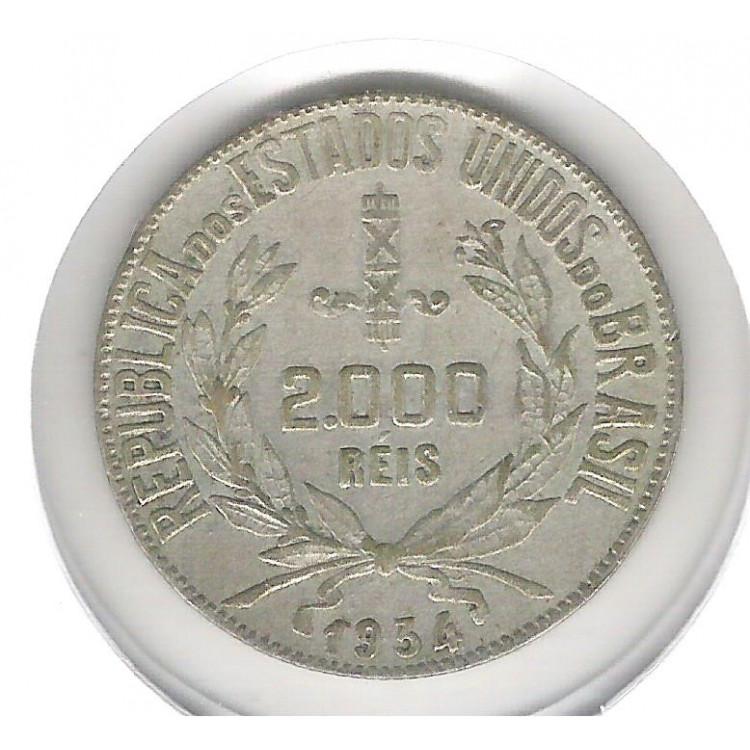 1934 - 2000 Réis, prata, mbc.