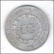 1863 - 500 Réis, prata, mbc, Brasil-Império, Dom Pedro II.