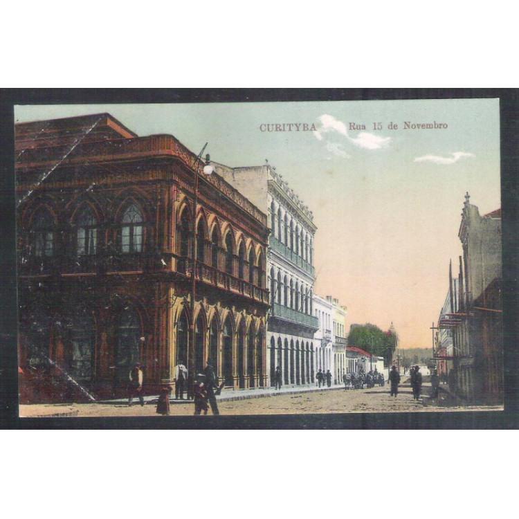 CTB73 - Cartão postal antigo, Curitiba, Rua 15 de Novembro.