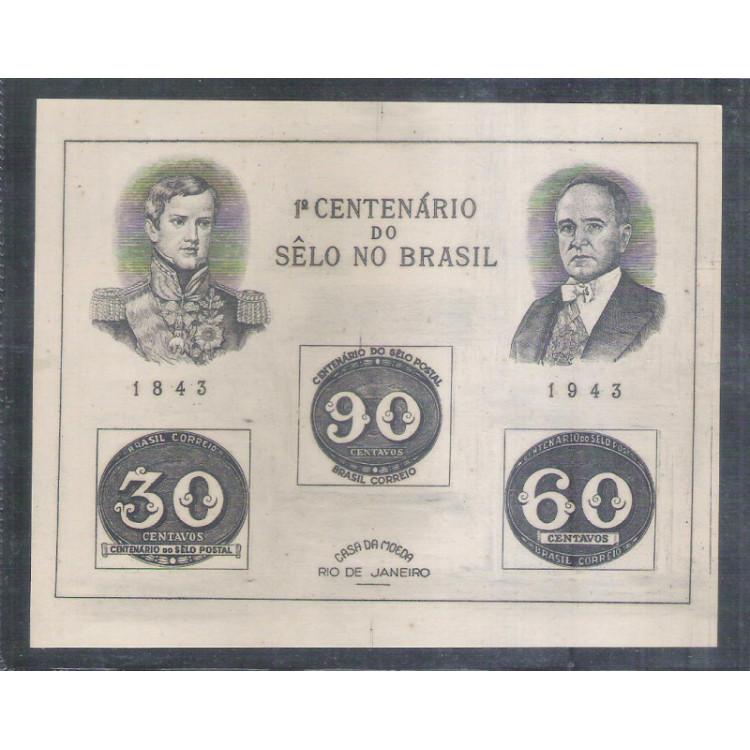 B-007h - 1943 Centenário do Selo Brasileiro - Olho-de-Boi. Tamanho grande. Getúlio Vargas.