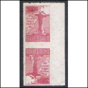 1934 - C-78 tb - Visita do Cardeal Pacelli (Pio XII), 300 Réis, 1a tiragem, vinho, TÊTE-BÊCHE, novo.