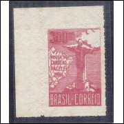 1934 - C-78  Visita do Cardeal Pacelli (Pio XII), 300 Réis, vinho, 1a tiragem, novo, sem goma.