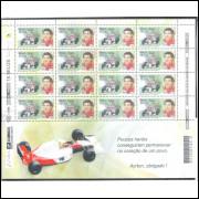 2000 - C-2346V - Automobilismo, Ayrton Senna. Folha com 16 selos.