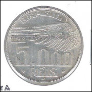 1938 - 5000 Réis, prata, s/fc. Santos Dumont