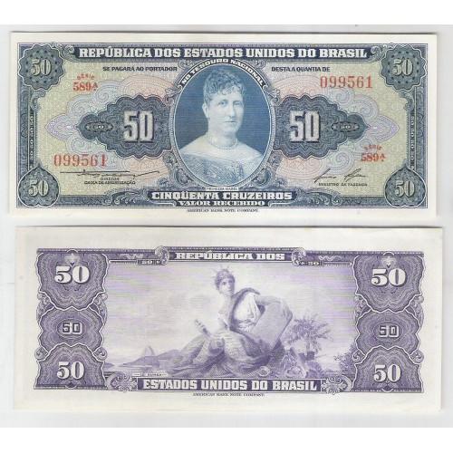 C026 - 50 Cruzeiros, 1956, Valor Recebido, Claudionor S. Lemos - Lucas Lopes, s-fe. Princesa Isabel.