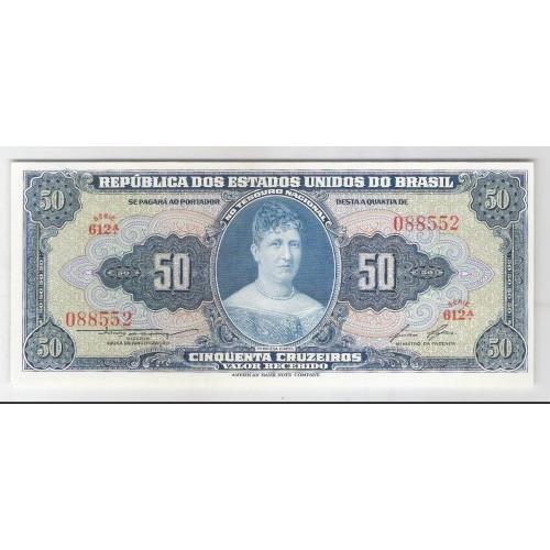C026 - 50 Cruzeiros, 1956, Valor Recebido, Claudionor S. Lemos - Lucas Lopes, s/fe. Princesa Isabel.