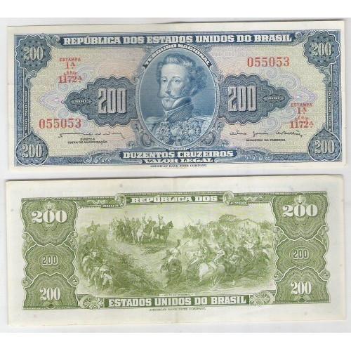 C042 - 200 Cruzeiros, 1964, Valor Legal, Reginaldo F. Nunes - O. G. de Bulhões, sob. D.Pedro I.