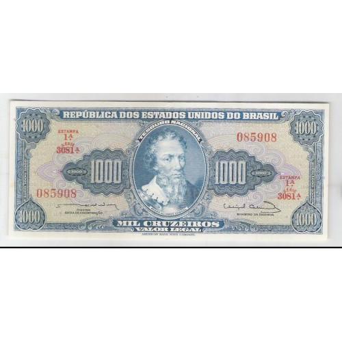 C056 - 1.000 Cruzeiros, 1963, Estampa 1a, s+, Reginaldo F. Nunes - Miguel Calmon. Pedro A. Cabral.