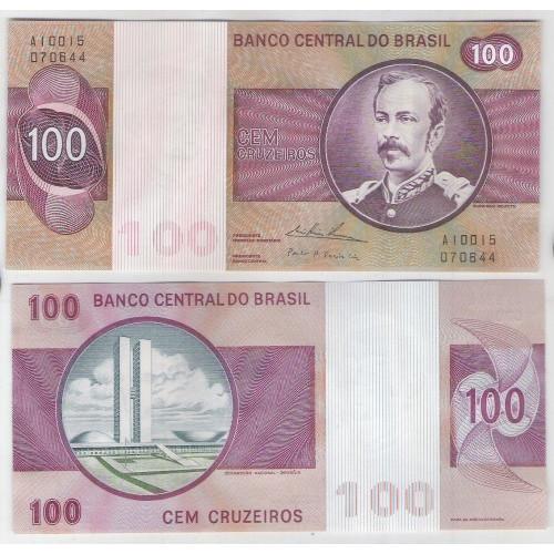 C146b - 100 Cruzeiros, 1974, gola baixa, Mário H. Simonsen e Paulo H. P.Lira, sob. Floriano Peixoto