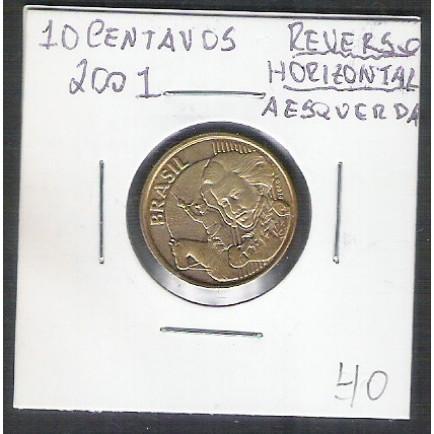 2001 - 10 Centavos, reverso horizontal à esquerda.