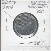2002 - 50 Centavos, reverso inclinado 38o a direita.