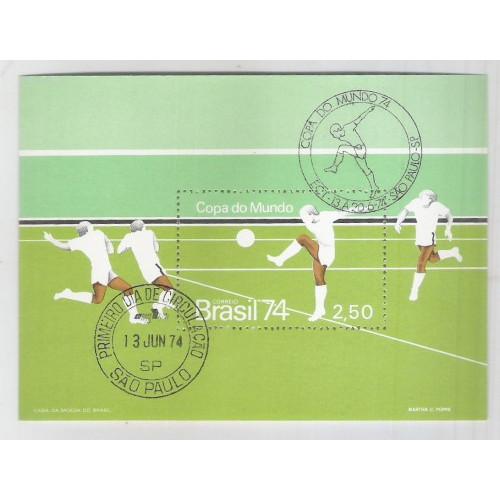 B-036 - 1974 Copa do Mundo - Alemanha. Com Carimbo Comemorativo e 1o Dia (São Paulo)