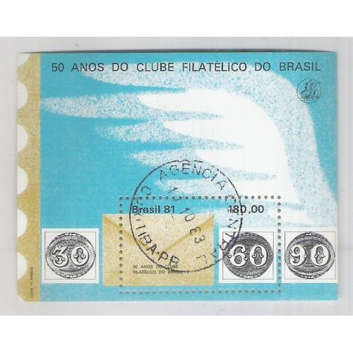 B-049 - 1981 - 50 Anos do Clube Filatélico do Brasil. Selo sobre selo. Carimbado.