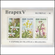 B-051 - 1982 Brapex V - Exposição Filatélica Brasileira. Blumenau. Orquídeas. Flores.