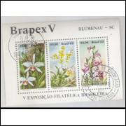 B-051 - 1982 Brapex V - Exposição Filatélica Brasileira. Blumenau. Orquídeas. Carimbo Comemorativo.