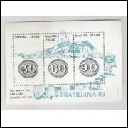 B-057 - 1983 - Brasiliana - 140 Anos da emissão Olhos-de-Boi. Selo sobre selo.