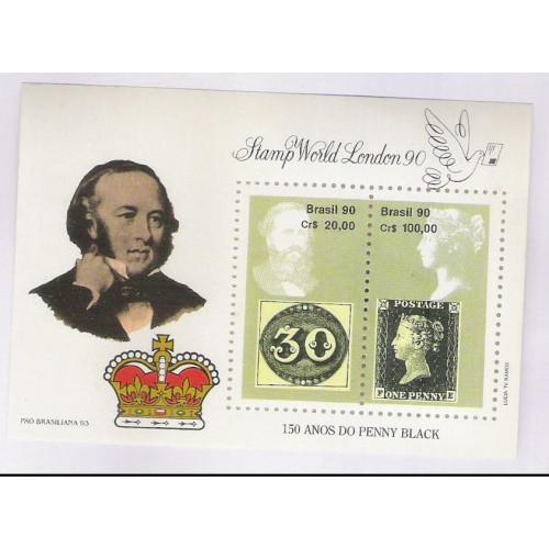 B-085 - 1990 - 150 Anos do Penny Black. Exposição Filatélica. Selo sobre selo.