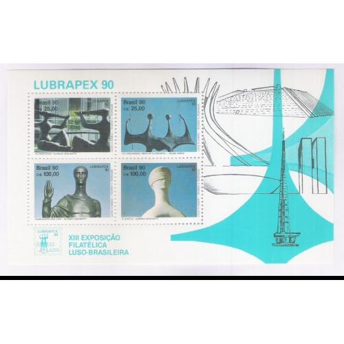 B-087 - 1990 - Lubrapex - Exposição Filatélica. Esculturas de Alfredo Ceschiatti e Bruno Giorgi