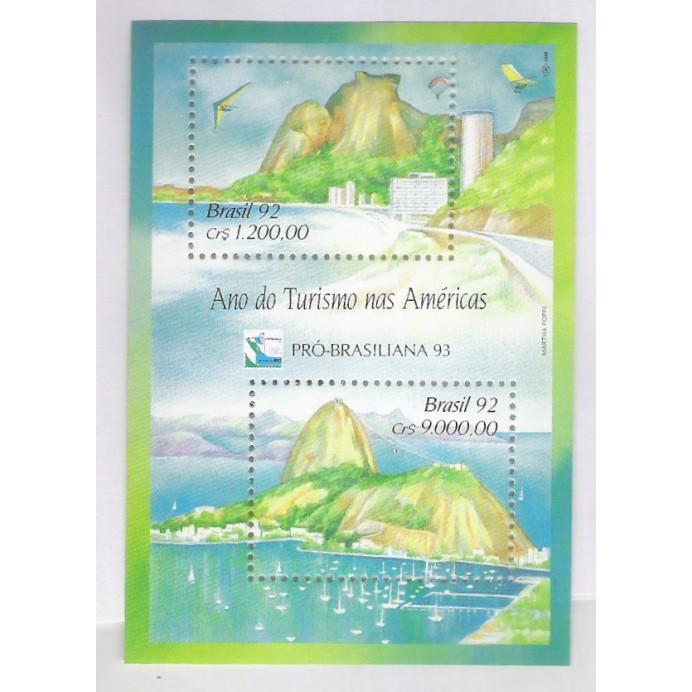 B-093 - 1992 - Ano do Turismo nas Américas. Pró-Brasiliana. Pão de Acúcar-Rio.
