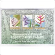 B-100 - 1995 - Homenagem ao paisagista Burle Marx. Exposição Filatélica. Flora, flores.