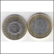 Argentina, 2 Pesos, 2016, bimetálica, s/fc.