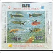B-113 - 1999 - China-99 - Ano do Coelho. Peixes do Pantanal. Aquário de Água Doce.